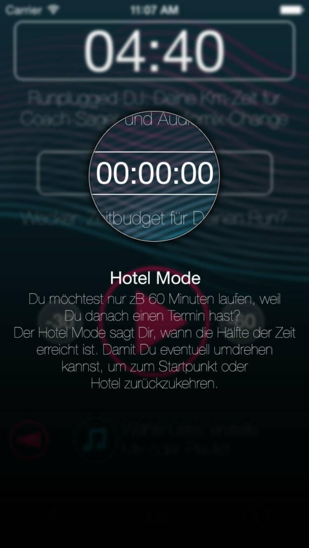 (APP) Runplugged Hotel Mode: Du möchtest nur zB 60 Minuten laufen, weil Du danach einen Termin hast? Der Hotel Mode sagt Dir, wann die Hälfte der Zeit erreicht ist. Damit Du eventuell umdrehen kannst, um zum Startpunkt oder Hotel zurückzukehren - Appdownload unter http://bit.ly/1lbuMA9