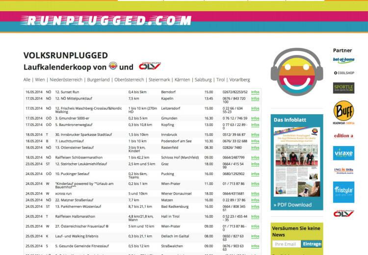 (WEB) http://www.runplugged.com/volksrunplugged - der Laufkalender, zunächst für Österreich - Appdownload unter http://bit.ly/1lbuMA9