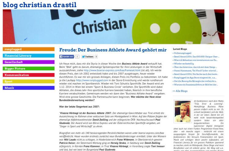 """Ausblick: Am 1.12. wird mit der Sporthilfe der """"Runplugged Business Athlete Award"""" an ehemalige Spitzensportler, die jetzt in der Wirtschaft erfolgreich sind, vergeben - http://www.christian-drastil.com/blog/2014/04/25/freude_der_business_athlete_award_gehort_mir"""