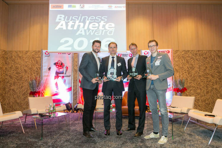 Damian Izdebski (techbold technology group, 3. Platz Business Athlete Award 2016, Peter Haidenek (Polytec, Sieger Business Athlete Award 2016), Rolf Majcen (FTC, 2. Platz Business Athlete Award 2016), Günther Matzinger (Rookie of the Year)