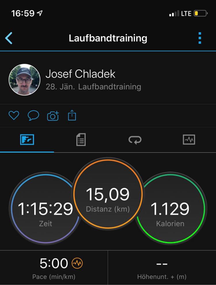 15 Kilometer, Schnitt 5:00