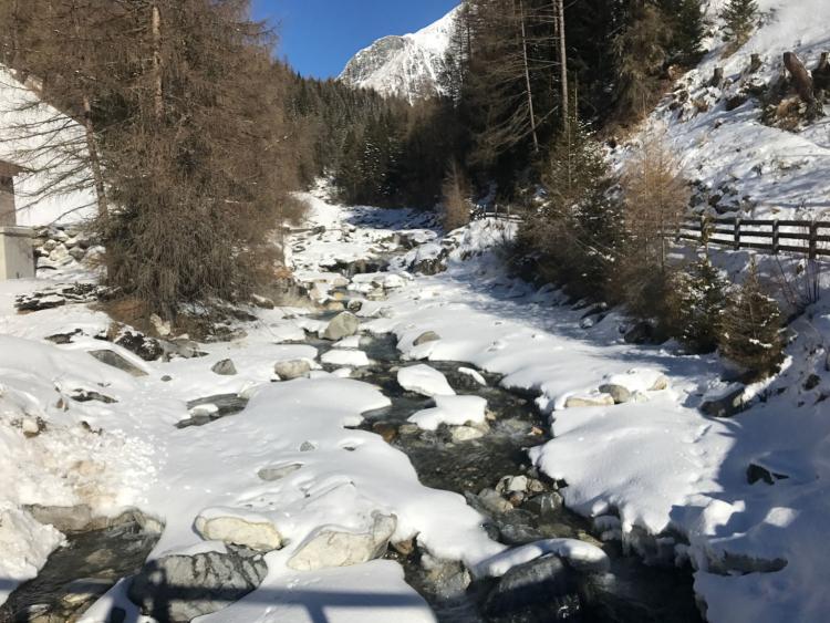 Back, fliessen, Eis, Schnee